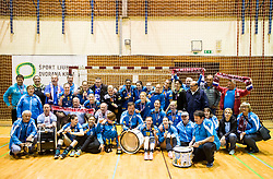 Players of RK Krim Mercator and their fans Krimovci celebrate after the handball match between RK Krim Mercator and ZRK Z'Dezele Celje in Last Round of Slovenian National Championship 2016/17, on April 18, 2017 in Arena Galjevica, Ljubljana, Slovenia. Photo by Vid Ponikvar / Sportida