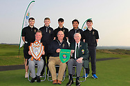 Team RBAI winners of the Irish Schools Senior Championship at Portstewart Golf Club, Portstewart, Co Antrim on Tuesday 23rd April 2019.<br /> <br /> Front Row: Alastair Glenn (President Port Stewart Golf Club), Jack Allen (Team Manager) and Jim McGovern (President GUI)<br /> <br /> Back Row: Josh Robinson, Aaron Marshall, Luke Kelly, Marco Deane and Darcy Hogg.<br /> <br /> Picture:  Thos Caffrey / www.golffile.ie<br /> <br /> All photos usage must carry mandatory copyright credit       (© Golffile   Thos Caffrey)