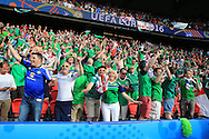 Northern Ireland fans sing and dance.UEFA Euro 2016, last 16 , Wales v Northern Ireland at the Parc des Princes in Paris, France on Saturday 25th June 2016, pic by  Andrew Orchard, Andrew Orchard sports photography.