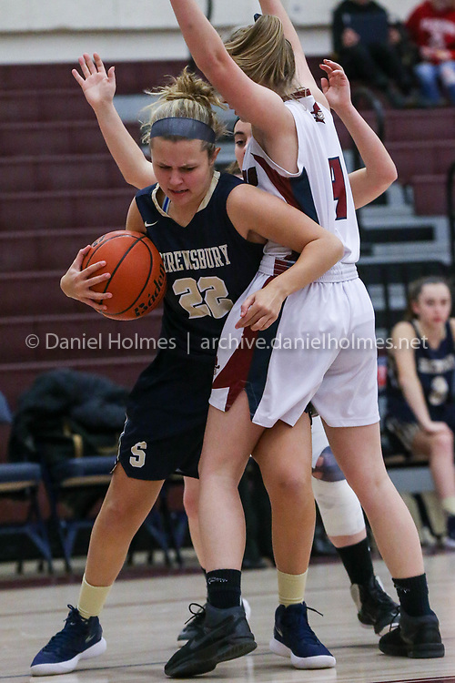 (12/19/17, WESTBOROUGH, MA) Shrewsbury's Meghan Bis snags a loose ball during the girls basketball game against Westborough at Westborough High School on Tuesday. [Daily News and Wicked Local Photo/Dan Holmes]