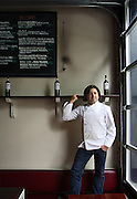 """SHOT 6/25/08 1:27:05 PM - Il Posto chef/owner Andrea Frizzi photographed at his restaurant in Denver, Co. Frizzi, originally from Milan, Italy, touts his restaurant as """"the complicated simplicity of Italian food and wine"""" and relies heavily on the days' freshest ingredients to dictate the ever changing menu. The restaurant also features an all Italian wine list..(Photo by Marc Piscotty / © 2008)"""