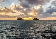 Sunrise between the Mokulua Island, Lanikai Beach, Kailua, Oahu, Hawaii