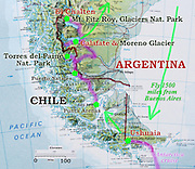 "A map of Patagonia shows our adventure itinerary in Argentina and Chile, from February 3 to March 11, 2005. We flew 1500 miles from Buenos Aires to Ushuaia, on the Argentina side of the island archipelago of Tierra del Fuego. We cruised 12 days round trip through the Beagle Channel and across the rough 400-mile Drake Passage to explore the frozen Antarctic Peninsula. A short airplane flight took us from Ushuaia to working-class Punta Arenas in Chile, where a hired van drove us to the tourist town of Puerto Natales. We hiked the W Route to admire striking mountain scenery in Torres del Paine National Park, Chile. We bused into Argentina to the bustling tourist town of El Calafate, where day rental of a car let us visit the spectacular Moreno Glacier on our own schedule. A bus took us to the fun frontier village of El Chalten where several day hikes explored the awesome Mount Fitz Roy area. A flight from El Calafate returned to Buenos Aires. In Chile, Patagonia includes the territory of Valdivia through Tierra del Fuego archipelago. Spanning both Argentina and Chile, the foot of South America is known as Patagonia, a name derived from coastal giants (""Patagão"" or ""Patagoni"" who were actually Tehuelche native people who averaged 25 cm taller than the Spaniards) who were reported by Magellan's 1520s voyage circumnavigating the world."