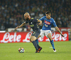 October 21, 2017 - Naples, Campania/Napoli, Italy - Italy- Naples October 21, 2017 A-Serie A football match at the San Paolo Stadium between Naples and Inter..That night they met the first two teams of high class Napoli who is in first place and Inter at second..Already the soccer experts speak of scudetto racing in Italy.Naples..Naples:.Inter: (Credit Image: © Fabio Sasso/Pacific Press via ZUMA Wire)