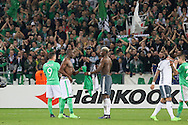 Brothers Saint-Etienne Defender Florentin Pogba and Paul Pogba Midfielder of Manchester United swap shirts during the Europa League match between Saint-Etienne and Manchester United at Stade Geoffroy Guichard, Saint-Etienne, France on 22 February 2017. Photo by Phil Duncan.