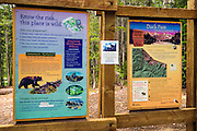 Trailhead signs, John Muir Wilderness, California USA