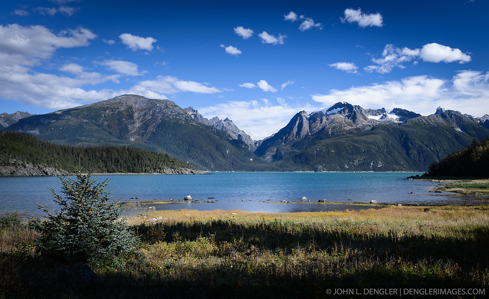 The mountains of the Kakuhan Range in the Tongass National Forest can be seen in the view from Mud Bay near Haines, Alaska on the Lynn Canal.