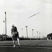 Senior athlete Helen Beauchamp, 87, of Memphis, Tennessee, is photographed participating in the 85-89 age bracket women's javelin event during the track and field competition at the 2007 Senior Olympics, held at the University of Louisville's Cardinal Park Soccer & Track Stadium in Louisville, Kentucky on June 28, 2007. ..The event was sponsored by the National Senior Games Association, established in 1986, which oversees 50 state and 350 local and regional competitions for senior athletes in the United States each year. There are an estimated 250,000 senior athletes in training in the U.S. ...