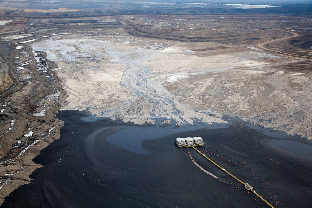 Overview of tailing pond at Suncor mining site