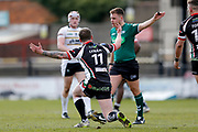 Keighley Cougars interchange Joshua Lynam (11) pleads his innocence with the referee during the Betfred League 1 match between York City Knights and Keighley Cougars at Bootham Crescent, York, England on 25 March 2018. Picture by Simon Davies.