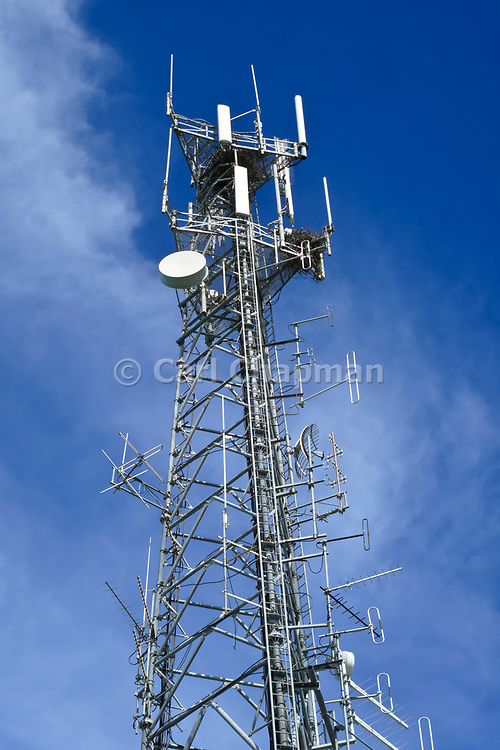 GSM and CDMA cellsite and communications antenna array for the cellular telephone system on a tower. <br /> <br /> Editions:- Open Edition Print / Stock Image