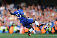 Victor Moses of Chelsea slides in to score his sides 3rd goal to make it 3-0. Premier league match, Chelsea v Burnley at Stamford Bridge in London on Saturday 27th August 2016.<br /> pic by John Patrick Fletcher, Andrew Orchard sports photography.