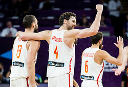 Marc Gasol of Spain, Pau Gasol of Spain celebrate during basketball match between National Teams  Spain and Russia at Day 18 in 3rd place match of the FIBA EuroBasket 2017 at Sinan Erdem Dome in Istanbul, Turkey on September 17, 2017. Photo by Vid Ponikvar / Sportida