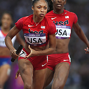 Allyson Felix, USA, in action during the  Women's 4 x 400 relay race won by the USA at the Olympic Stadium, Olympic Park, during the London 2012 Olympic games. London, UK. 11th August 2012. Photo Tim Clayton