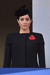 © Licensed to London News Pictures. 11/11/2018. London, UK. Meghan, Duchess of Sussex a Remembrance Day Ceremony at the Cenotaph war memorial in London, United Kingdom, on November 11, 2018. Thousands of people honour the war dead by gathering at the iconic memorial to lay wreaths and observe two minutes silence and marks the 100th anniversary of Armistice Day. Photo credit: Ray Tang/LNP