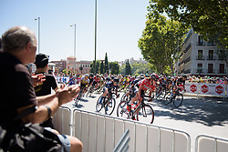 Peloton navigate the hairpin outside the train station at Madrid Challenge by la Vuelta 2017 - a 87 km road race on September 10, 2017, in Madrid, Spain. (Photo by Sean Robinson/Velofocus.com)