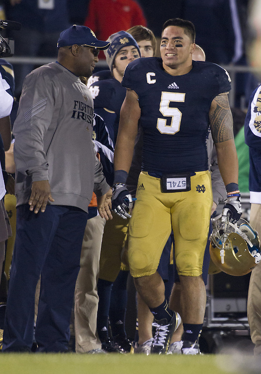November 17, 2012:  Notre Dame inside linebacker Manti Te'o (5) is all smiles on the sidelines during NCAA Football game action between the Notre Dame Fighting Irish and the Wake Forest Demon Deacons at Notre Dame Stadium in South Bend, Indiana.  Notre Dame defeated Wake Forest 38-0.