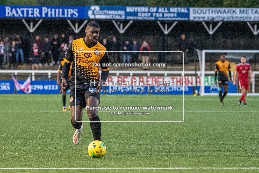 BROMLEY, UK - NOVEMBER 02: Ben Mundelle, of Cray Wanderers FC, during the BetVictor Isthmian Premier League match between Cray Wanderers and Worthing at Hayes Lane on November 2, 2019 in Bromley, UK. <br /> (Photo: Jon Hilliger)