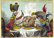 The Plumb-pudding in danger: ..' William Pitt the Younger, British Prime Minister, left, and Napoleon I of France seated at dining table carving up the globe which 'is too small to satisfy such insatiable appetites.' James Gilray, 1804.