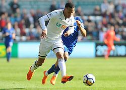 Martin Olsson of Swansea City gets past Theo Walcott of Everton - Mandatory by-line: Nizaam Jones/JMP - 14/04/2018 - FOOTBALL - Liberty Stadium - Swansea, Wales - Swansea City v Everton - Premier League