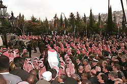 King Hussein's funeral at the Royal palace in Amman, Jordan on February 8, 1999. Twenty years ago, end of January and early February 1999, the Kingdom of Jordan witnessed a change of power as the late King Hussein came back from the United States of America to change his Crown Prince, only two weeks before he passed away. Photo by Balkis Press/ABACAPRESS.COM
