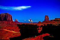 Navajo Indian on horseback, John Ford Point, Monument Valley, Utah/Arizona, USA