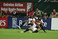 Action from the 2008-2009 opening event in the IRB World sevens series, the Emirates Airline Dubai Sevens 2008 tournament at the new Sevens Stadium in Dubai on 28th/29th November 2008
