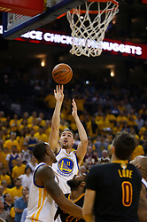 The Golden State Warriors' Klay Thompson (11) shoots against the Cleveland Cavaliers in the second quarter of Game 5 of the NBA Finals at Oracle Arena in Oakland, Calif., on Monday, June 12, 2017. (Photo by Nhat V. Meyer/Bay Area News Group/TNS) *** Please Use Credit from Credit Field ***