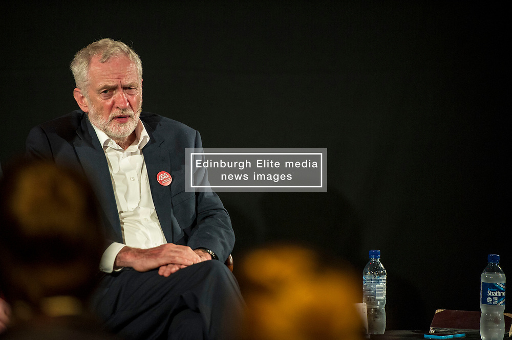 Pictured: Jeremy Corbyn, Leader of the Labour POarty<br /> <br /> Jeremy Corbyn, leader of the Labour Party, and Tom Watson MP, shadow secretary of state for culture, media and sport, headed to the Lower Hall New Town Theatre to meet creative workers at the Edinburgh Fringe today.<br /> 27 August 2017