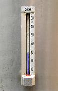 Fermentation tanks. Thermometer showing 10 centigrade. Domaine Henri Bourgeois, Chavignol, Sancerre, Loire, France
