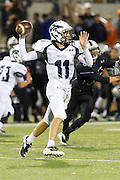 McNeil quarterback Hayden Cooper throws for a first down against Cedar Ridge Thursday at Kelly Reeves Athletic Complex.  (LOURDES M SHOAF for Round Rock Leader)
