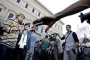 Il Presidente della Regione Fruli Venezia Giulia Debora Serracchiani intervistata a Piazza Farnese in attesa del comizio di Ignazio Marino, candidato sindaco di Roma,<br /> Roma - 7 giugno 2013. Matteo Ciambelli / OneShot