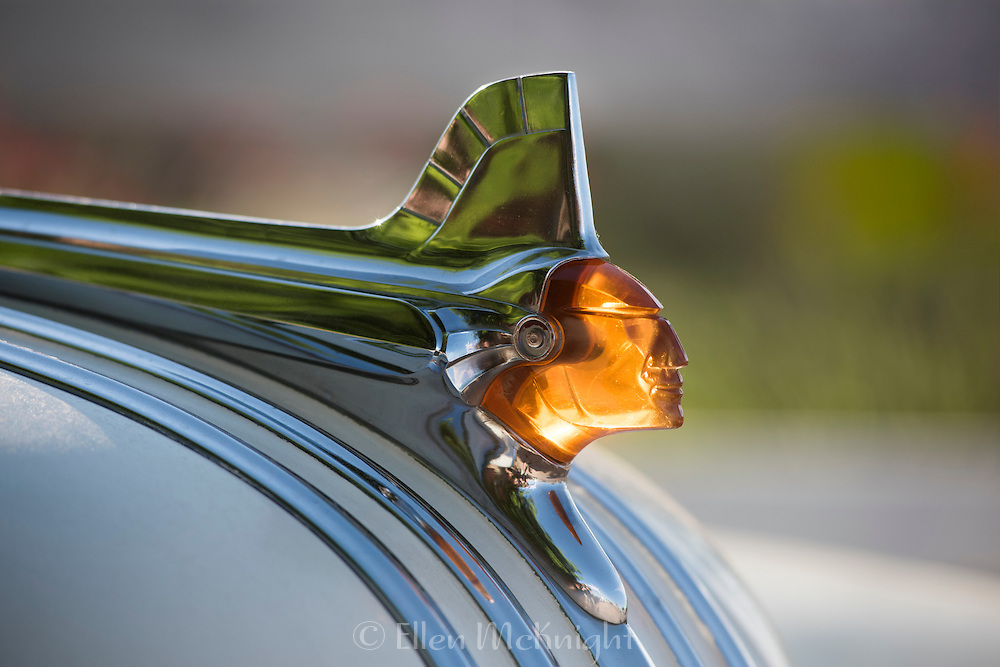 Pontiac Chieftan hood ornament on a Pontiac Eight vintage car