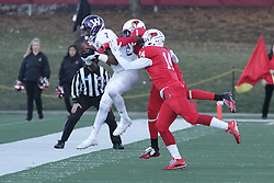 05 December 2015:  Joey Borsellino(1) makes a catch and is immediately ushered out of bounds by Josh Burch(1) and DraShane Glass(14). NCAA FCS Round 2 Football Playoff game between Western Illinois Leathernecks and Illinois State Redbirds at Hancock Stadium in Normal IL (Photo by Alan Look)