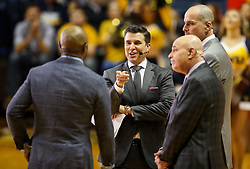 Jan 27, 2018; Morgantown, WV, USA; ESPN's Rece Davis leads the crew of ESPN College Gameday on set before the Big 12/SEC challenge game between West Virginia and Kentucky at WVU Coliseum. Mandatory Credit: Ben Queen-USA TODAY Sports