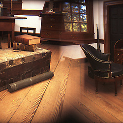 Alexandria, VA- President George Washington's study, with desk, campaign chest, telescope, and other important objects at Mount Vernon, his home in Alexandria, VA. (This image was photographed with a holga toy camera and is shot by overlapping the frames on the negative).