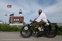 Adrian Lockrey on his Triumph at the start of the Motorcycle Cannonball coast to coast vintage run. Portland, ME. Friday September 7, 2018. Photography ©2018 Michael Lichter.