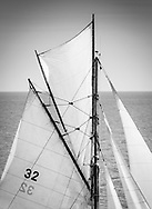 Duet, a gaff rigged yawl during the annual Round the Island Race off Cowes, Isle of Wight. <br /> Around 1,342 boats and 13,000 sailors participated in the 50 mile circumnavigation of the island making it one of the largest yacht races in the world.<br /> Picture date Saturday 1st July, 2017.<br /> Picture by Christopher Ison. Contact +447544 044177 chris@christopherison.com