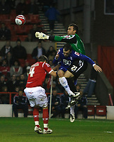 Photo: Richard Lane/Richard Lane Photography. Nottingham Forest v Birmingham City. Coca Cola Championship. 08/11/2008. Keeper Lee Camp gathers the ball under pressure from James McFadden