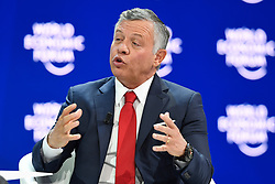 """HANDOUT - His Majesty Abdullah II Bin Al Hussein, King of the Hashemite Kingdom of Jordan speaks during a Plenary Session """"A Conversation with King Abdullah II of Jordan"""" at the Annual Meeting 2018 of the World Economic Forum in Davos, January 25, 2018. Photo by Valeriano Di Domenico/World Economic Forum via ABACAPRESS.COM"""