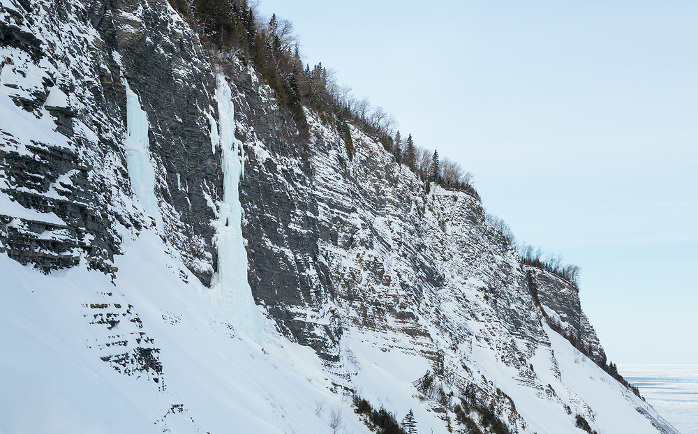 Etienne Rancourt leading the ice climb Corneille, WI5+ in Gaspesie, Quebec