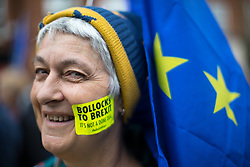 © Licensed to London News Pictures . 01/10/2017. Manchester, UK. Thousands of people take part in an anti Brexit pro EU demonstration at All Saints Park in Manchester during the Conservative Party Conference , which is taking place at the Manchester Central Convention Centre . Photo credit: Joel Goodman/LNP