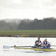 Eton, GREAT BRITAIN,  Peter REED (bow), and Andrew TRIGGS-HODGE (stroke), M2-, move away from the Start, GB Trials 3rd Winter assessment at,  Eton Rowing Centre, venue for the 2012 Olympic Rowing Regatta, Trials cut short due to weather conditions forecast for the second day Sunday  13/02/2011   [Photo, Karon Phillips/Intersport-images]