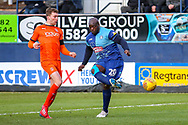 Wycombe Wanderers forward Adebayo Akinfenwa shoots towards the goal during the EFL Sky Bet League 1 match between Luton Town and Wycombe Wanderers at Kenilworth Road, Luton, England on 9 February 2019.