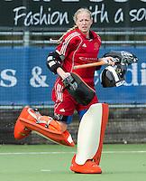 AMSTELVEEN - Pinoke keeper Adinda Boeren tijdens de hoofdklasse competitiewedstrijd tussen de vrouwen van  Pinoke en SCHC (3-5). FOTO KNHB/KOEN SUYK