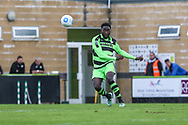 Forest Green Rovers Manny Monthe(3) passes the ball during the Vanarama National League match between Forest Green Rovers and Chester FC at the New Lawn, Forest Green, United Kingdom on 14 April 2017. Photo by Shane Healey.