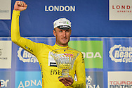 Steve Cummings of Great Britain and Team Dimension Data with the Tour of Britain trophy 2016 stage 8 , London, United Kingdom on 11 September 2016. Photo by Mark Davies.