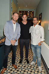 Left to right, NICK THAIN CEO of GiveMeSport, DANNY CIPRIANI and JAE CHALFIN founder of GiveMeSport at the launch of Give Me Sport Magazine held at Library, 112 St.Martin's Lane, London on 30th July 2014.