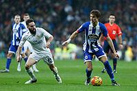 Real Madrid´s Daniel Carvajal and Deportivo de la Coruna´s Mosquera during 2015/16 La Liga match between Real Madrid and Deportivo de la Coruna at Santiago Bernabeu stadium in Madrid, Spain. January 09, 2015. (ALTERPHOTOS/Victor Blanco)