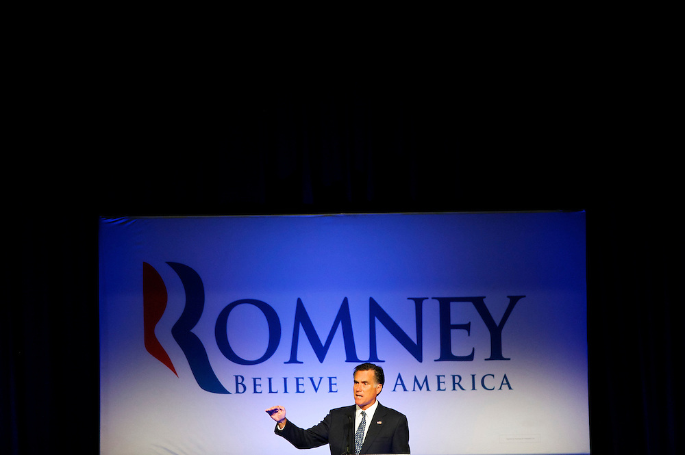 Former Massachusetts Gov. Mitt Romney, a candidate for the Republican presidential nomination, addresses the Lancaster County GOP Annual Dinner at the Lancaster County Convention Center in Lancaster, Pa., on April 17, 2012.